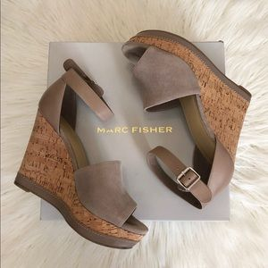 Marc Fisher • Taupe Suede high heel Wedges
